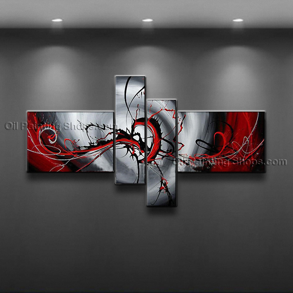 Hand Painted 4 Pieces Modern Abstract Painting Wall Art Artwork Pictures