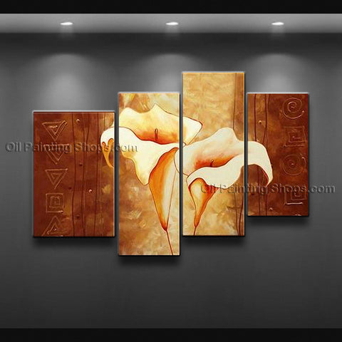 Tetraptych Contemporary Wall Art Floral Painting Lily Flower Oil Canvas
