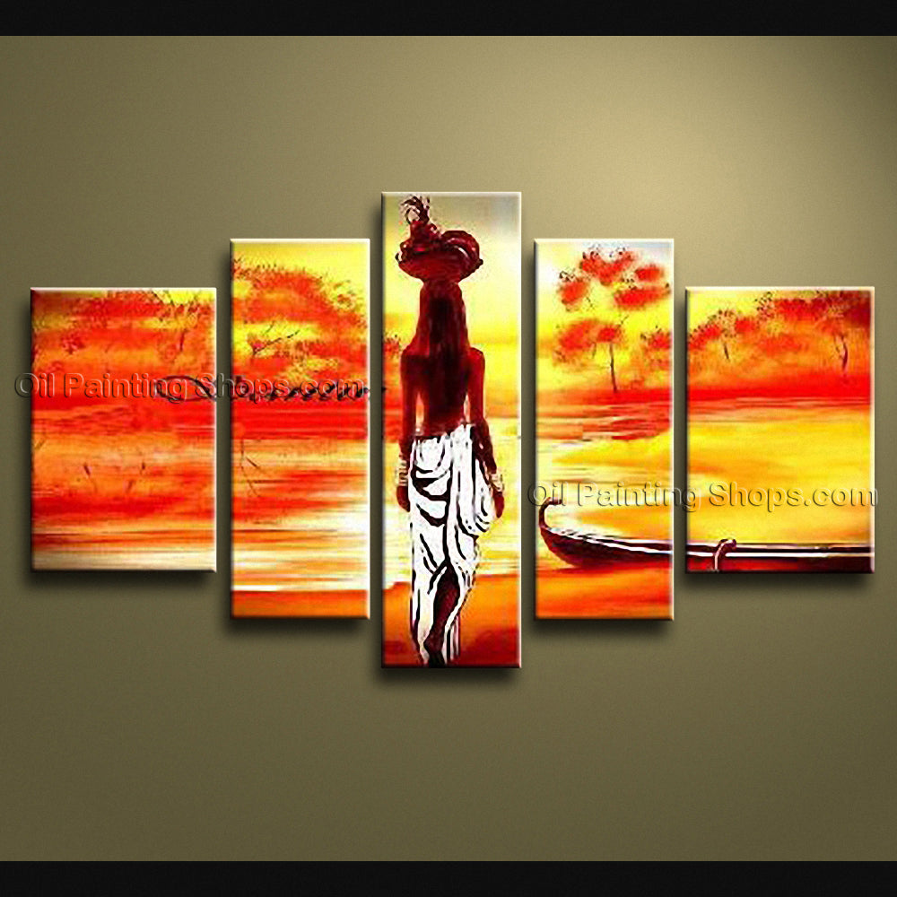 Pentaptych Modern Abstract Painting Wall Art Figure Inner Stretched