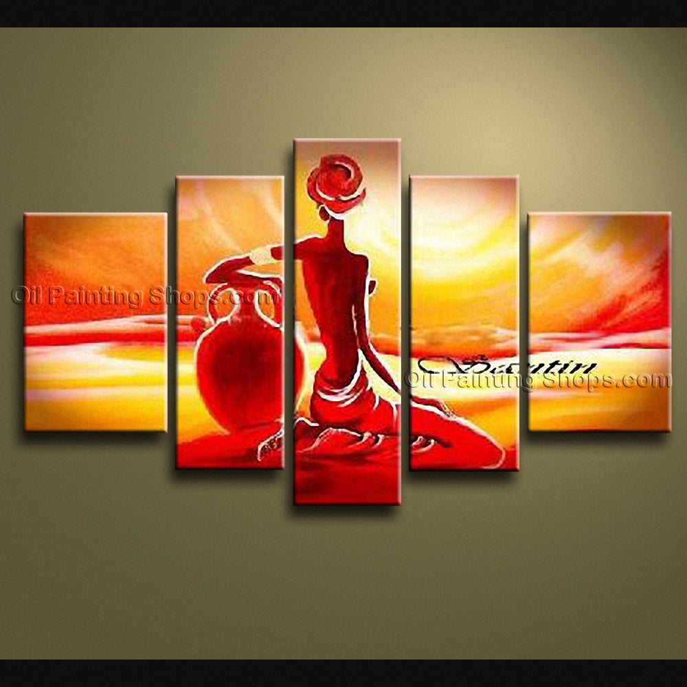Pentaptych Modern Abstract Painting Wall Art Figure On Canvas Artworks