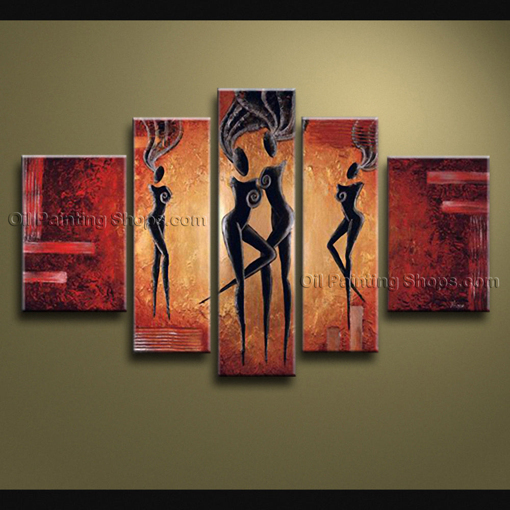Pentaptych Modern Abstract Painting Wall Art Figure Gallery Wrapped