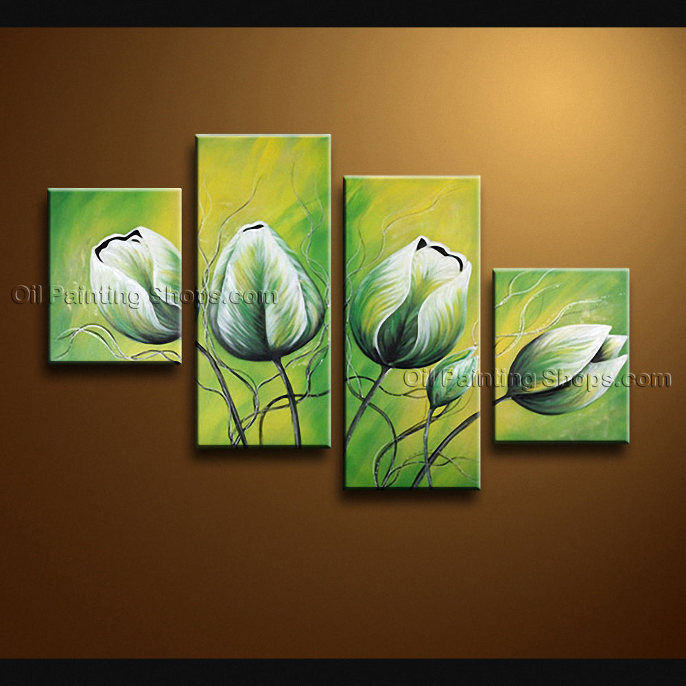 Tetraptych Contemporary Wall Art Floral Painting Tulip Contemporary Decor