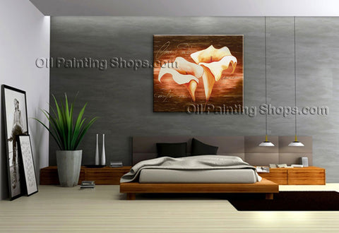 Elegant Contemporary Wall Art Floral Painting Lily Contemporary Decor