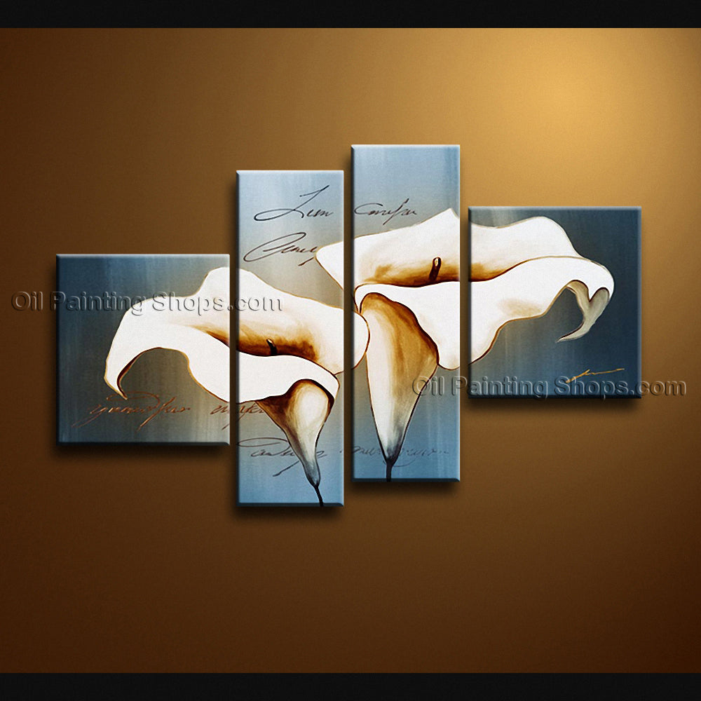 Tetraptych Contemporary Wall Art Floral Painting Lily Flower Paintings