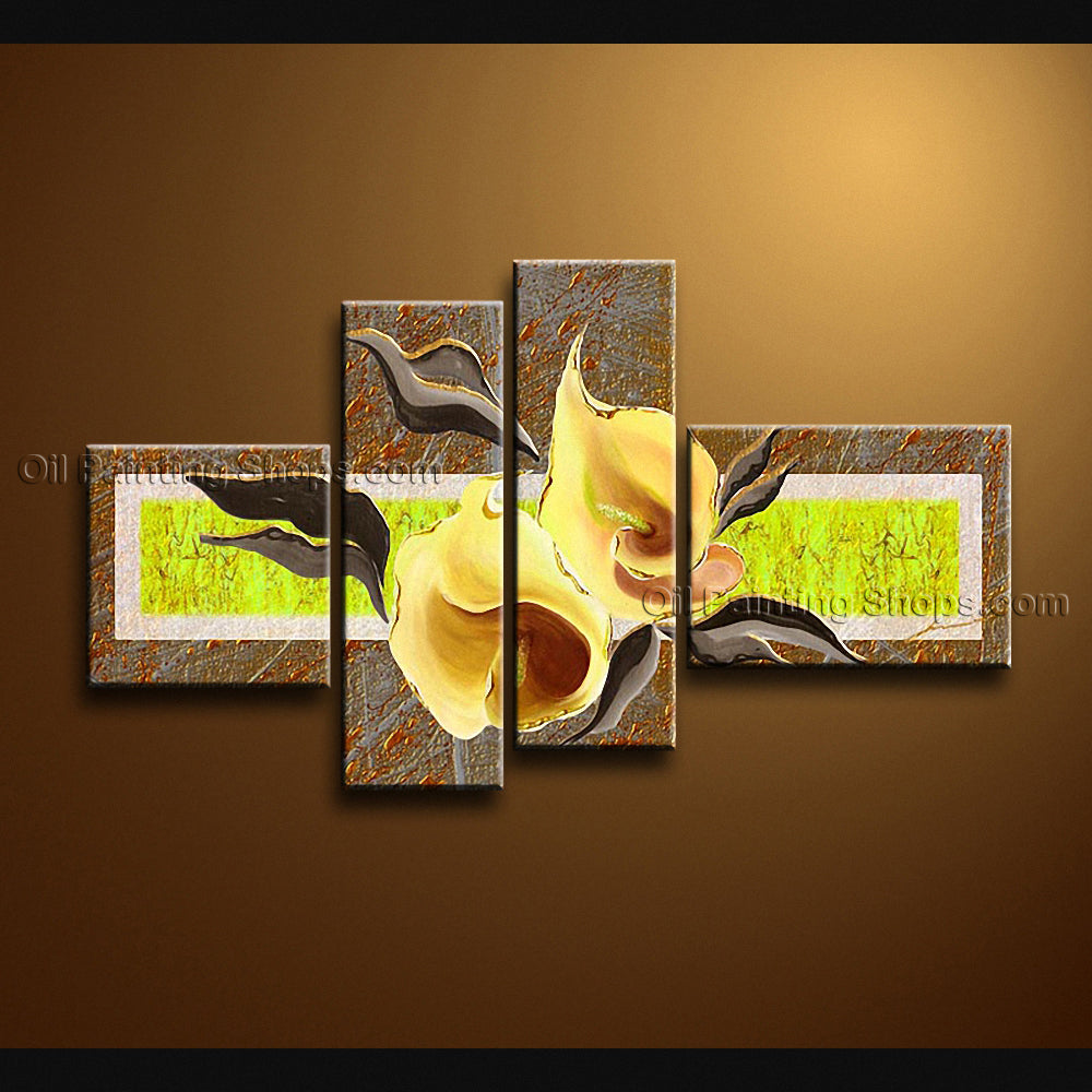 4 Pieces Contemporary Wall Art Floral Painting Lily Flowers Artwork
