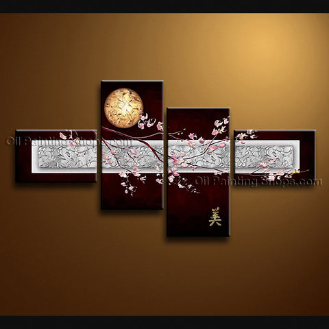 Tetraptych Contemporary Wall Art Floral Cherry Blossom Oil On Canvas