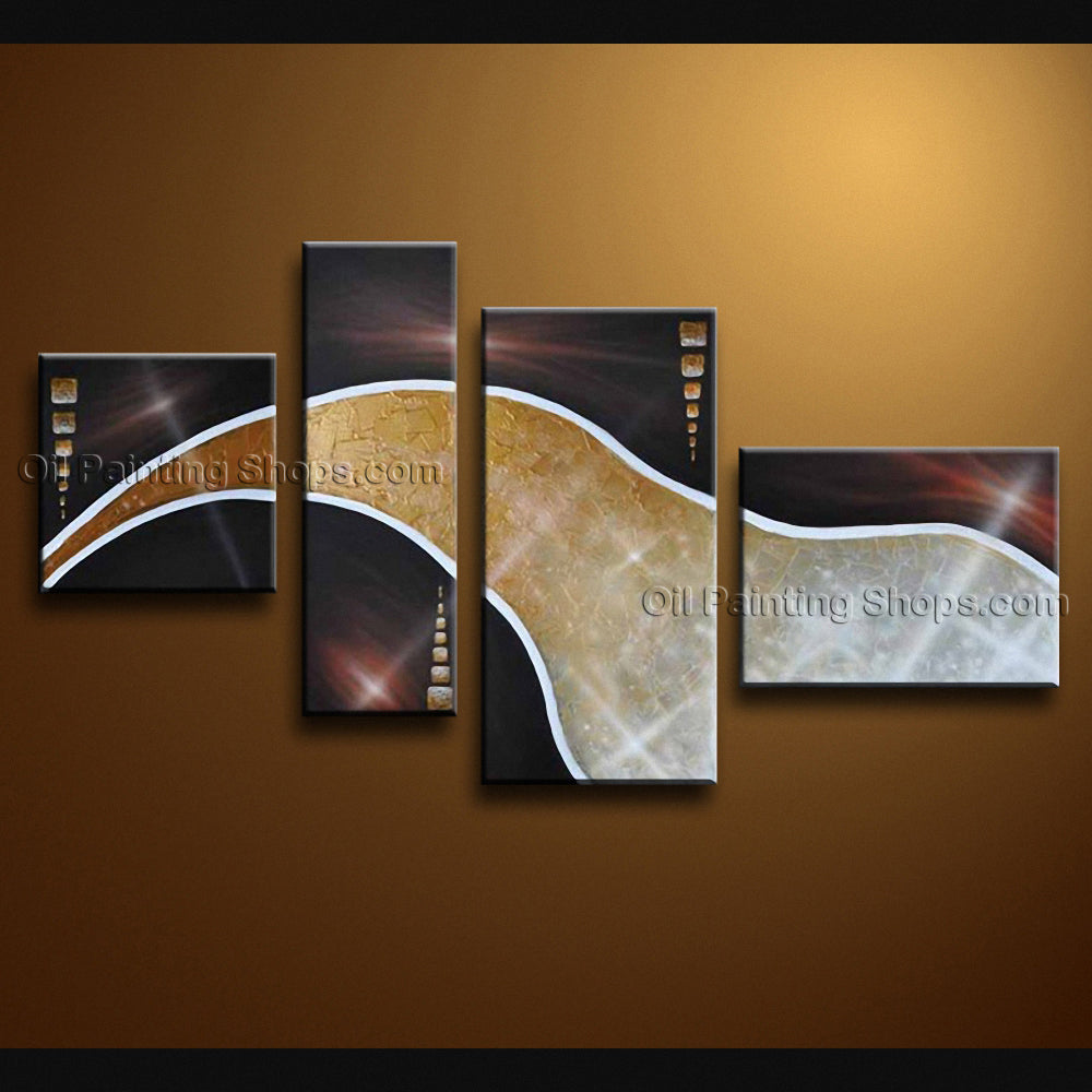 Handmade Artcrafts 4 Pieces Modern Abstract Painting Wall Art Inner Framed