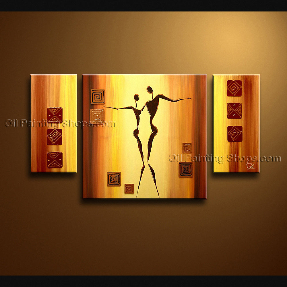 Hand-painted Elegant Modern Abstract Painting Wall Art Figure Inner Framed