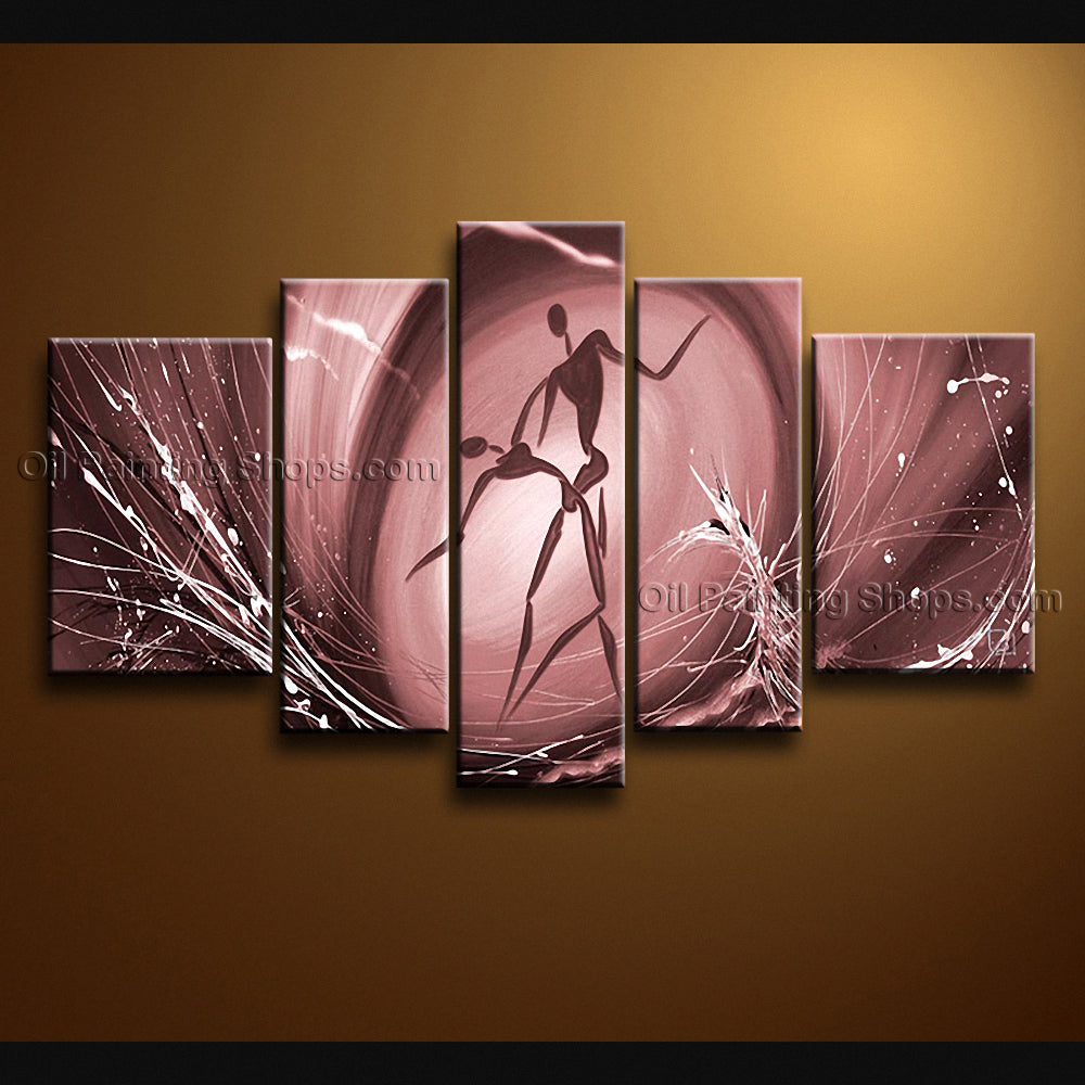 Handmade 5 Pieces Modern Abstract Painting Wall Art Figure Artwork Images