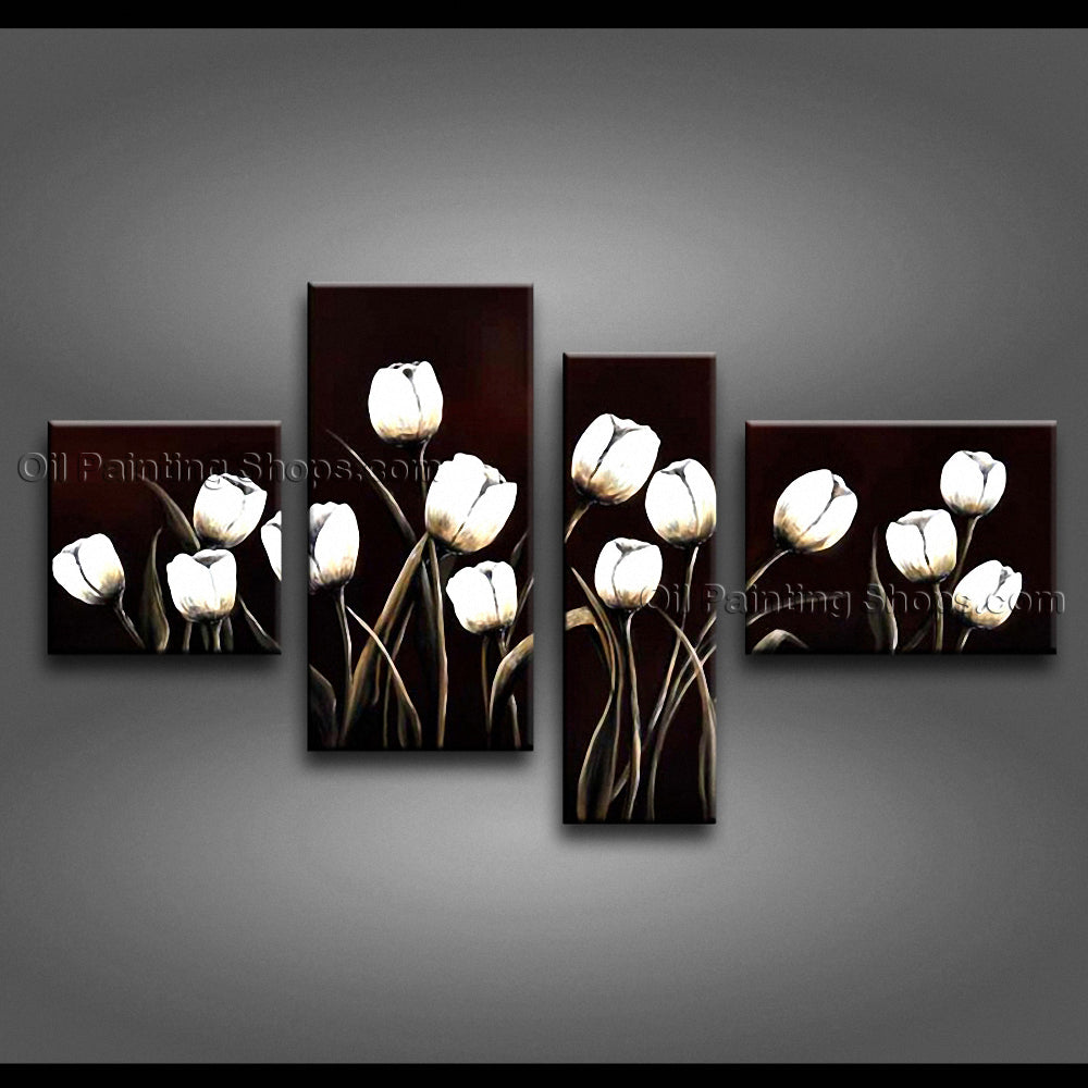Tetraptych Contemporary Wall Art Floral Tulip Flower Inner Stretched