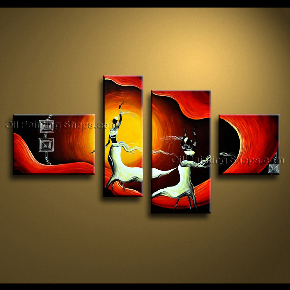 Tetraptych Modern Abstract Painting Wall Art Figure Gallery Wrapped