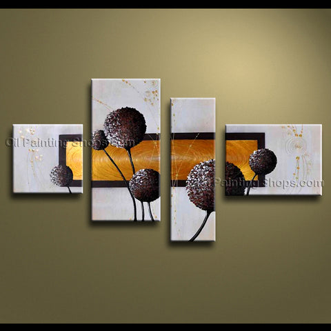 4 Pieces Contemporary Wall Art Floral Painting Dandelion Flowers/floral