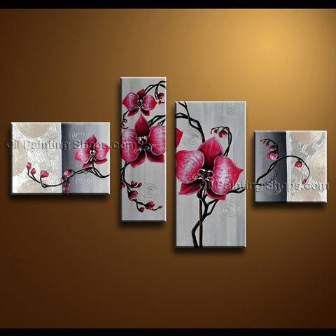 4 Pieces Contemporary Wall Art Floral Painting Orchid Flowers Artwork