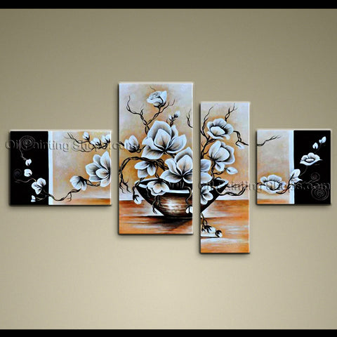 Tetraptych Contemporary Wall Art Floral Painting Tulip Flowers Artwork