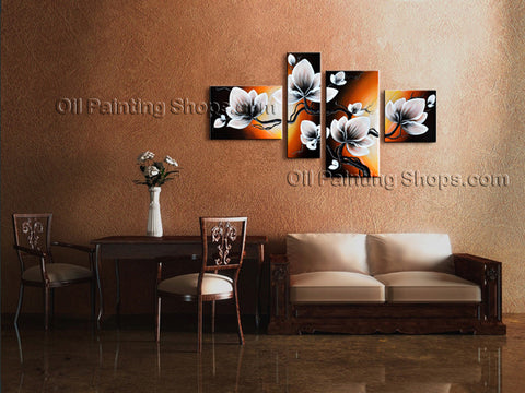 4 Pieces Contemporary Wall Art Floral Tulip Flower Gallery Wrapped