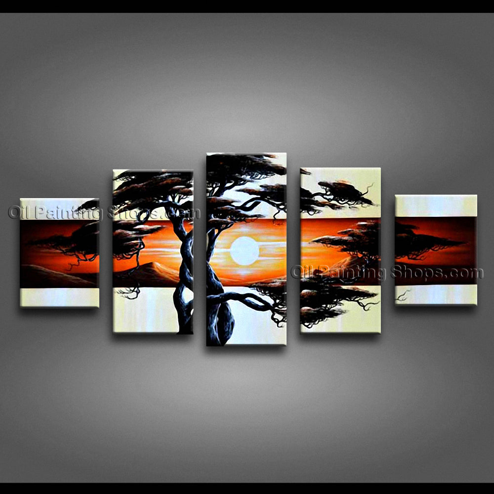 5 Pieces Contemporary Wall Art Landscape Painting Artwork Pictures