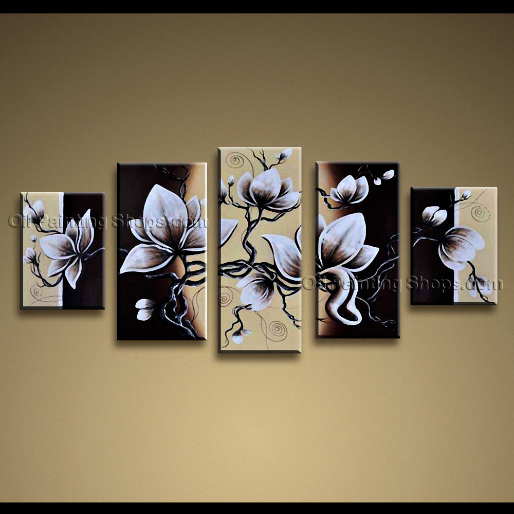 Pentaptych Contemporary Wall Art Floral Painting Tulip Flower On Canvas
