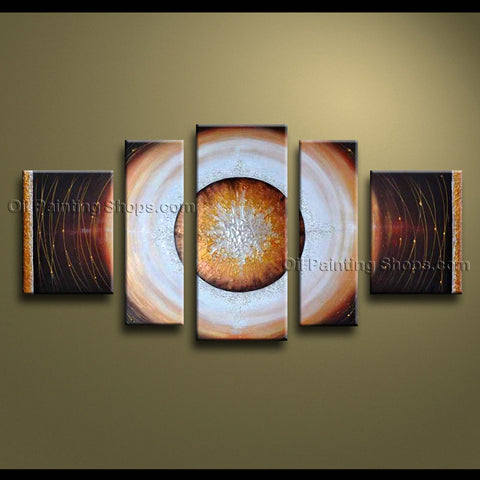 Handmade 5 Pieces Modern Abstract Painting Wall Art Universe Oil On Canvas