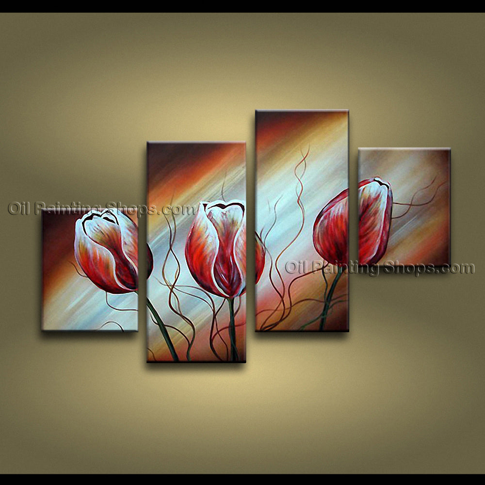 Tetraptych Contemporary Wall Art Floral Painting Tulip Flower Paintings