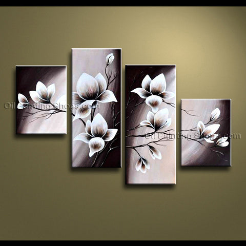 4 Pieces Contemporary Wall Art Floral Painting Tulip Decoration Ideas