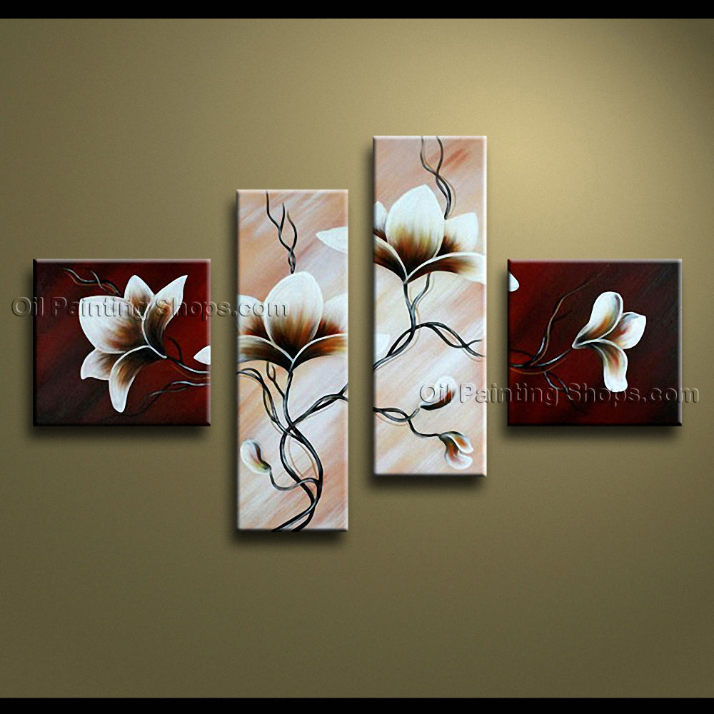 4 Pieces Contemporary Wall Art Floral Painting Tulip Flowers Artwork