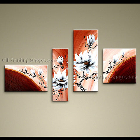 4 Pieces Contemporary Wall Art Floral Painting Tulip Flower Oil Canvas