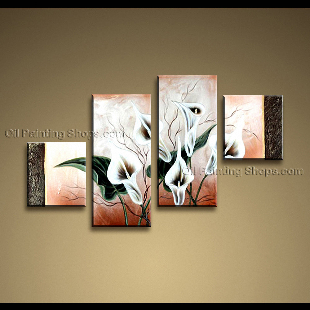 4 Pieces Contemporary Wall Art Floral Painting Lily Flower Artworks