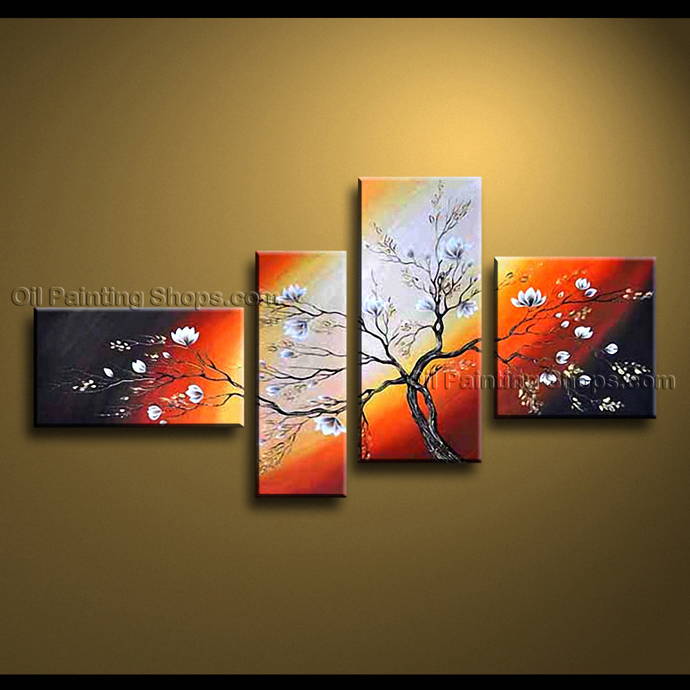 4 Pieces Contemporary Wall Art Floral Painting Tulip Flower Paintings