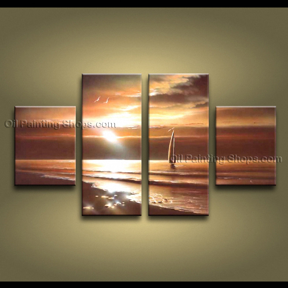 Handmade 4 Pieces Contemporary Wall Art Seascape Painting Sunset Scenery