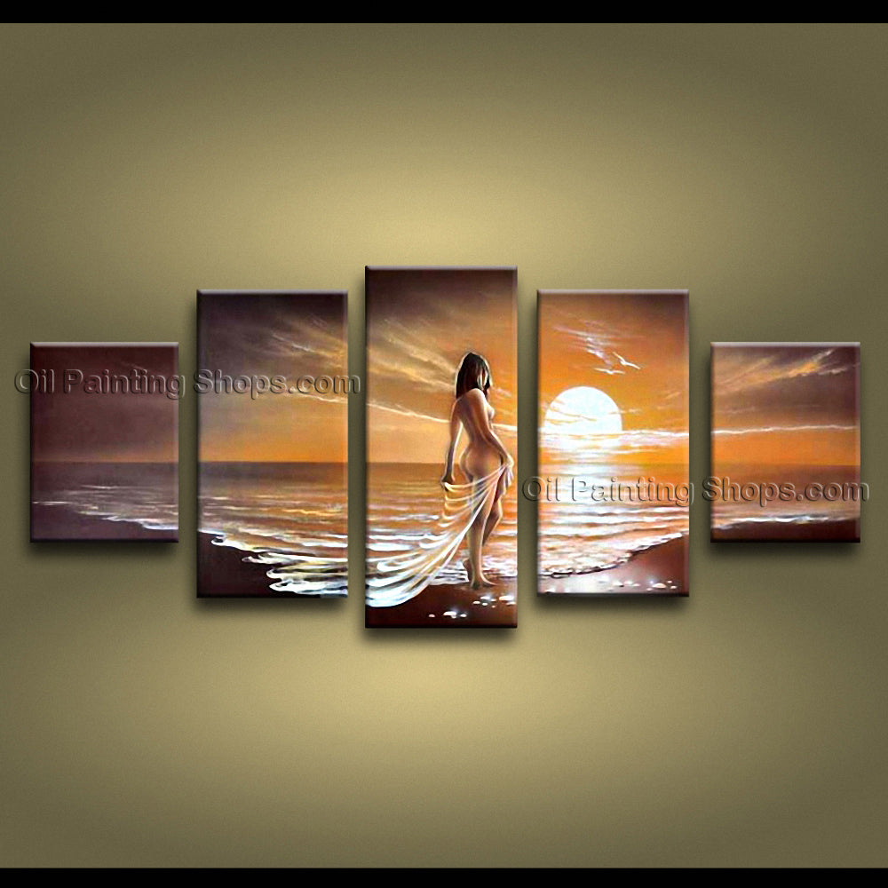 Hand-painted Large Contemporary Wall Art Seascape Painting Beach/nude Girl