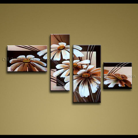 Tetraptych Contemporary Wall Art Floral Painting Daisy Flower On Canvas