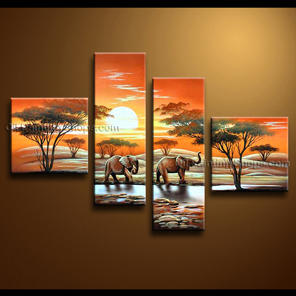 Tetraptych Contemporary Wall Art Landscape Painting Decoration Ideas