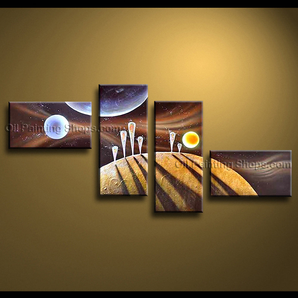 Handmade Large Modern Abstract Painting Wall Art Universe Oil On Canvas