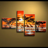 Handmade Tetraptych Contemporary Wall Art Landscape Painting Inner Framed