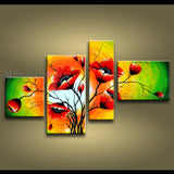 4 Pieces Contemporary Wall Art Floral Painting Poppy Flowers Artwork