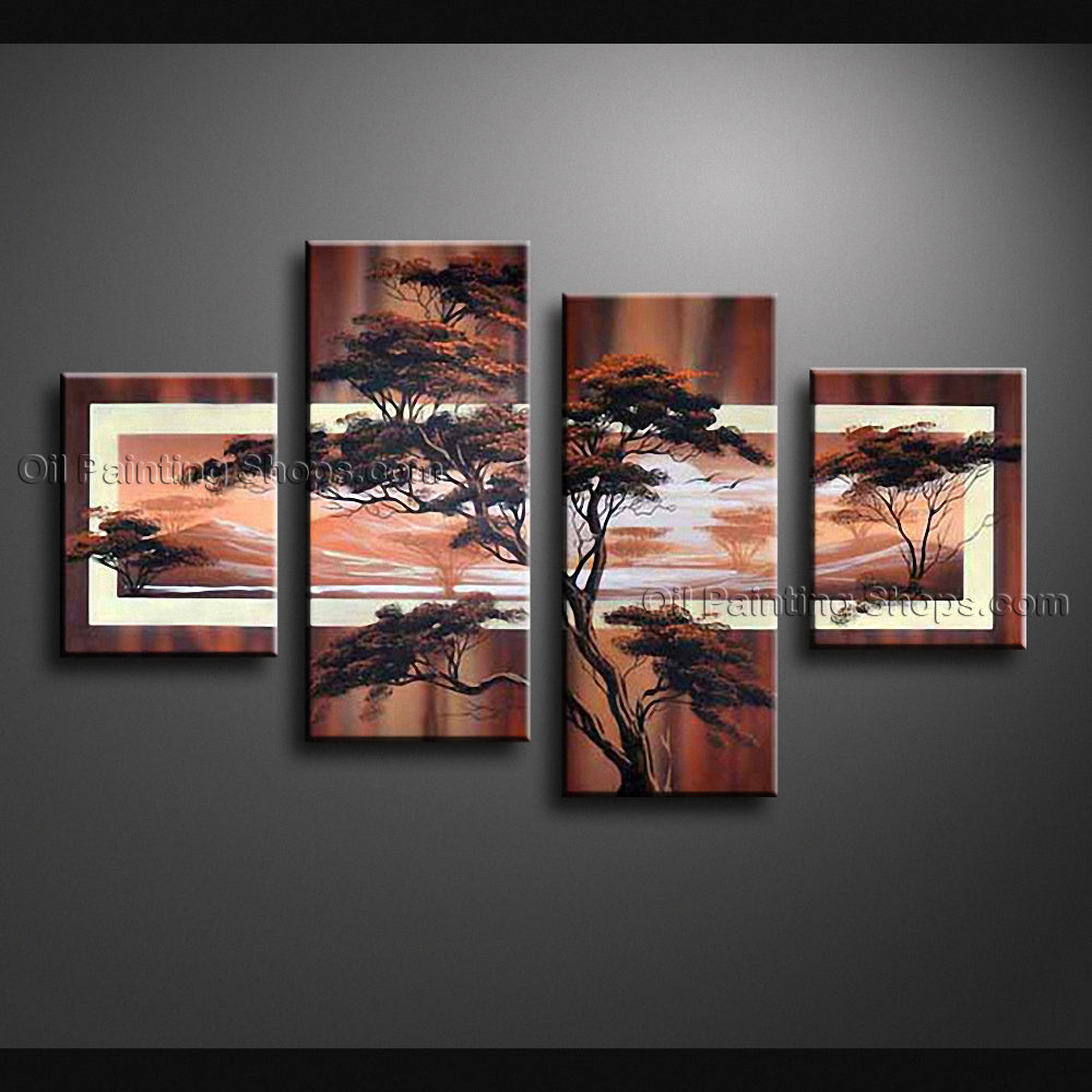 Handmade Large Contemporary Wall Art Landscape Painting Tree Inner Framed
