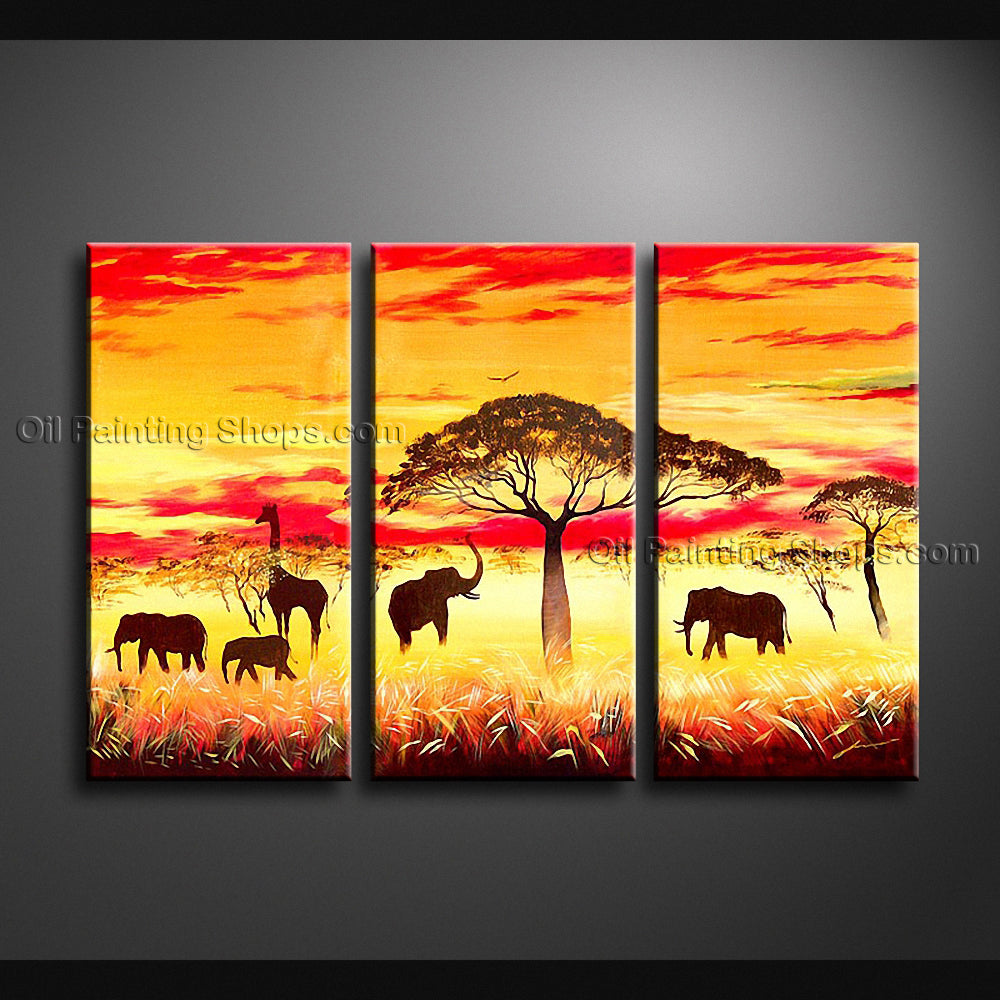 Beautiful Contemporary Wall Art Landscape Painting Africa Sunset ...