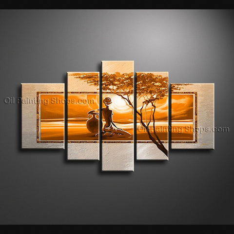 Pentaptych Contemporary Wall Art Landscape Painting Decoration Ideas