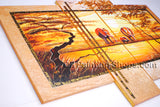 Tetraptych Contemporary Wall Art Landscape Painting Africa Sunset Scene