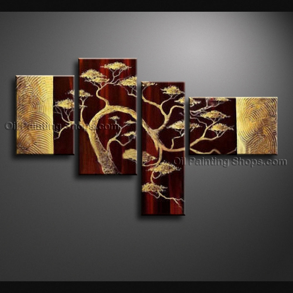 4 Pieces Contemporary Wall Art Landscape Painting Tree Inner Framed