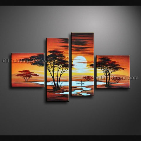 4 Pieces Contemporary Wall Art Landscape Painting Decoration Ideas
