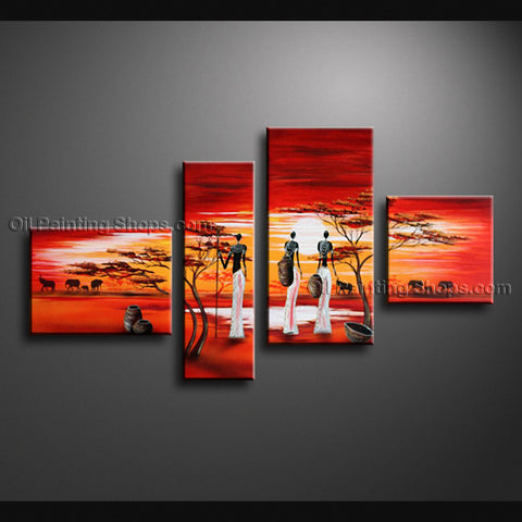 Tetraptych Contemporary Wall Art Landscape Painting African Scenery