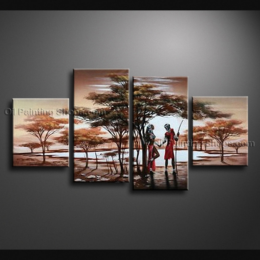 Large Contemporary Wall Art Landscape Painting Africa Sunset Scene