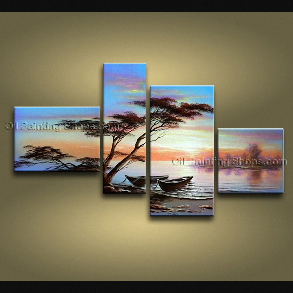 4 Pieces Contemporary Wall Art Landscape Painting Canvas Stretched