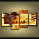 Handmade 4 Pieces Contemporary Wall Art Landscape Painting African Scenery