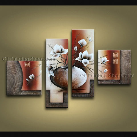 4 Pieces Contemporary Wall Art Floral Painting Tulip Contemporary Decor