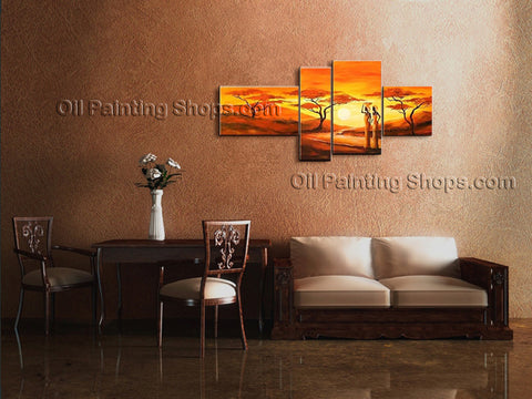 Handmade Tetraptych Contemporary Wall Art Landscape Painting Ready To Hang