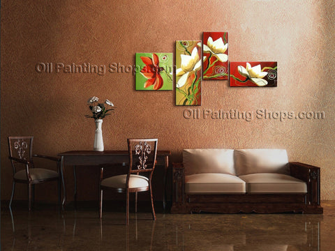 Tetraptych Contemporary Wall Art Floral Tulip Flower Gallery Wrapped
