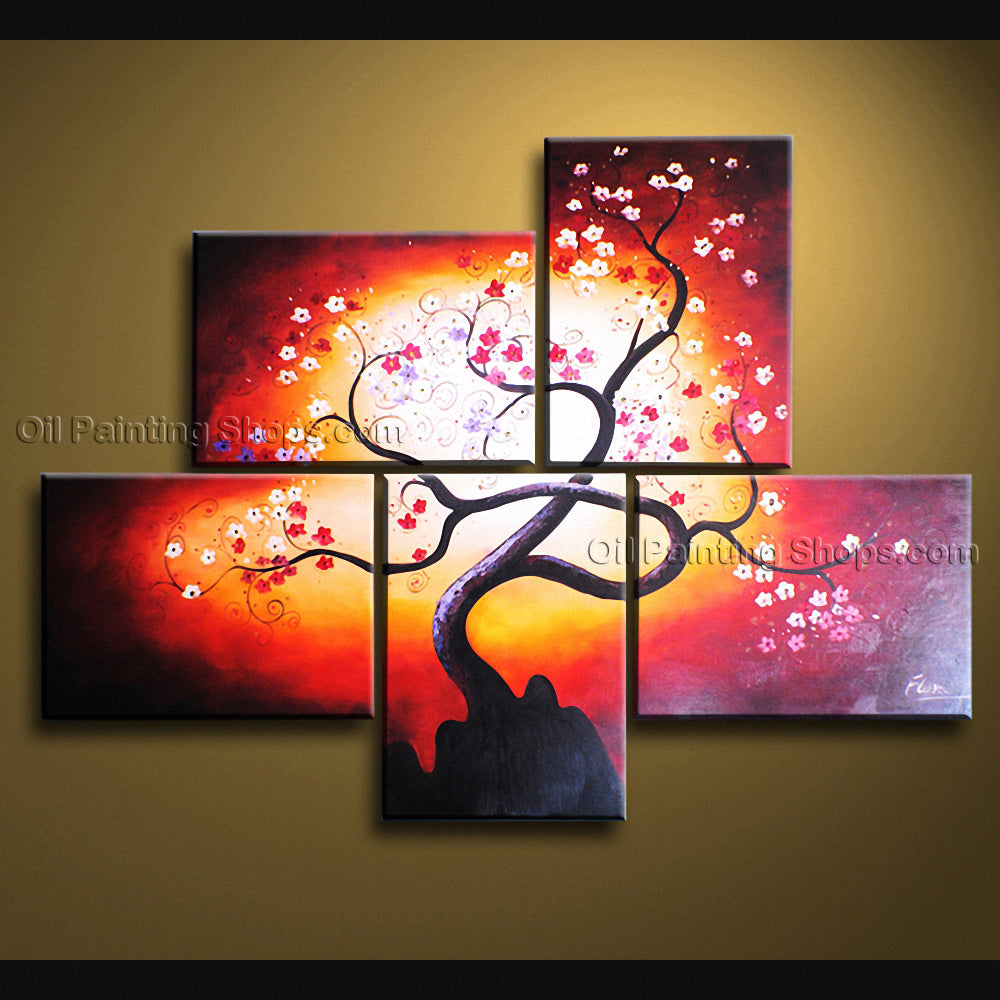 5 Pieces Contemporary Wall Art Floral Painting Plum Blossom Oil On Canvas