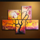 5 Pieces Contemporary Wall Art Floral Plum Blossom Contemporary Decor